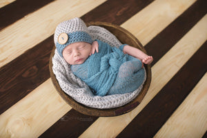 Preemie 'James' Button Hat // Silver + Sea Blue-Button Hat-UniqueKidz
