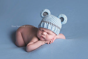 Preemie 'Little Bear' Crochet Hat // Boy Blue-Little Bear Hat-UniqueKidz