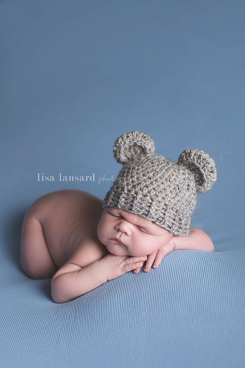 278614fc479 Preemie  Little Bear  Crochet Hat    Grey Marble-Little Bear Hat-