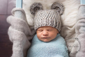 Preemie 'Little Bear' Crochet Hat // Grey Marble-Little Bear Hat-UniqueKidz