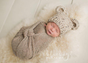 Preemie 'Little Bear' Crochet Hat // Oatmeal-Little Bear Hat-UniqueKidz