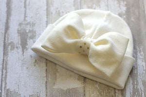 Preemie 'Luxe Bow' Hospital Hat // Cream-Bow Hospital Hats-UniqueKidz