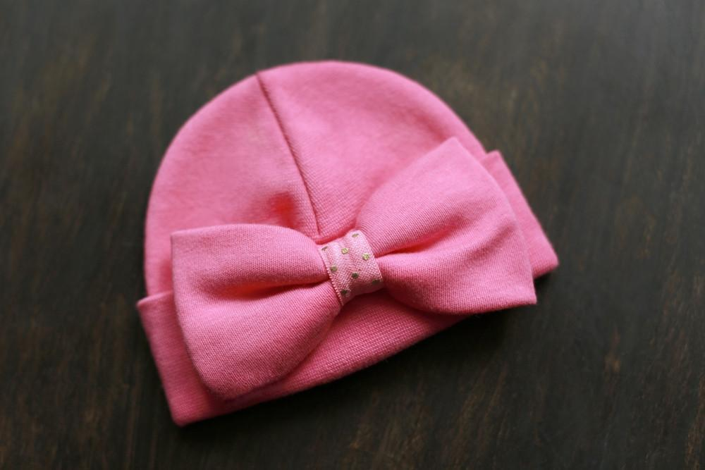 Preemie 'Luxe Bow' Hospital Hat // Fuchsia-Bow Hospital Hats-UniqueKidz