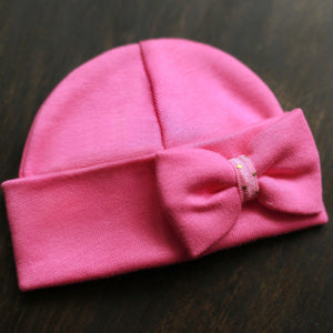 Preemie 'Mini Bow' Hospital Hat // Fuchsia-Bow Hospital Hats-UniqueKidz