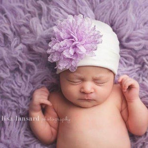 Preemie 'Posh' Hospital Hat // Lavender-Flower Hospital Hats-UniqueKidz
