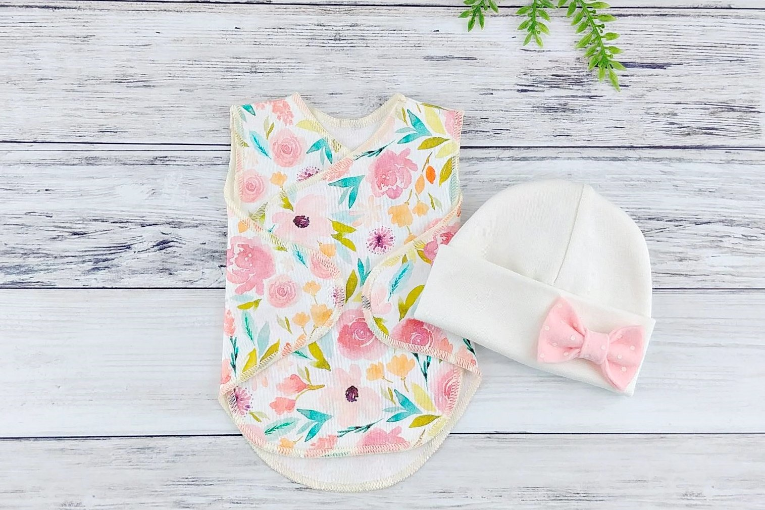 Preemie Wrap and Hat Set // Organic Sage Floral-Nicu Wrap Set-UniqueKidz