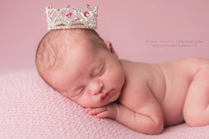 Rhinestone Mini Crown // Princess Amaris - Pink-Mini Crowns-UniqueKidz