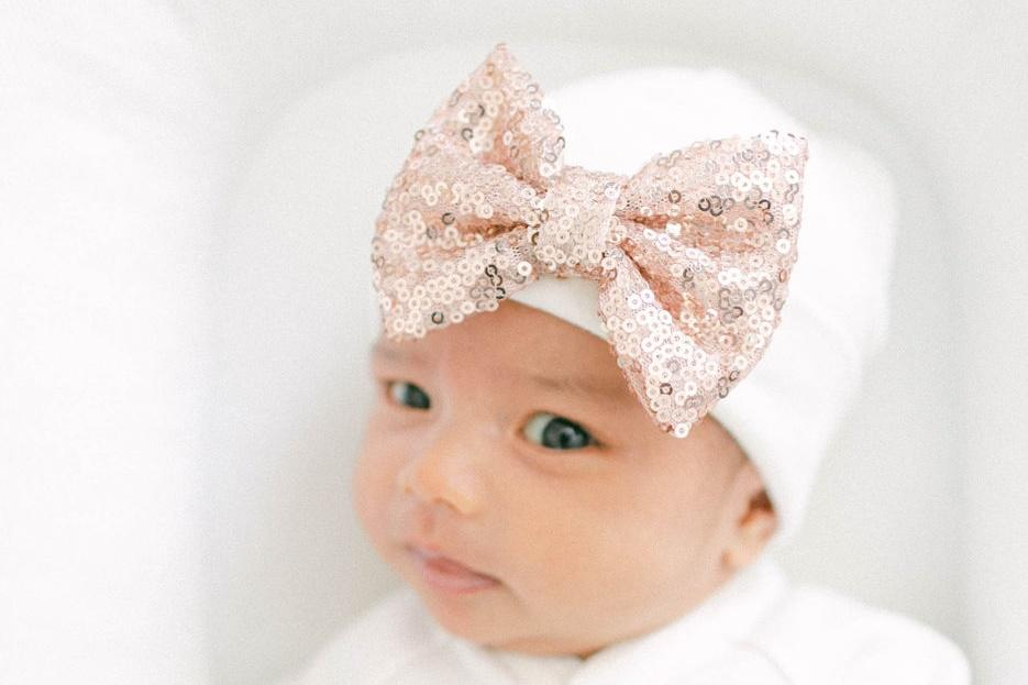 'Shimmer Bow' Hospital Hat // Rose Gold-Bow Hospital Hats-UniqueKidz