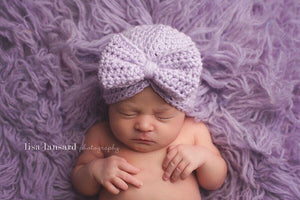'Tayva' Bow Crochet Hat // Lavender-Crochet Hats-UniqueKidz