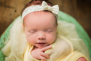 'Tessa' Lace Bow Headband // Ivory-Tessa Lace bow headband-UniqueKidz