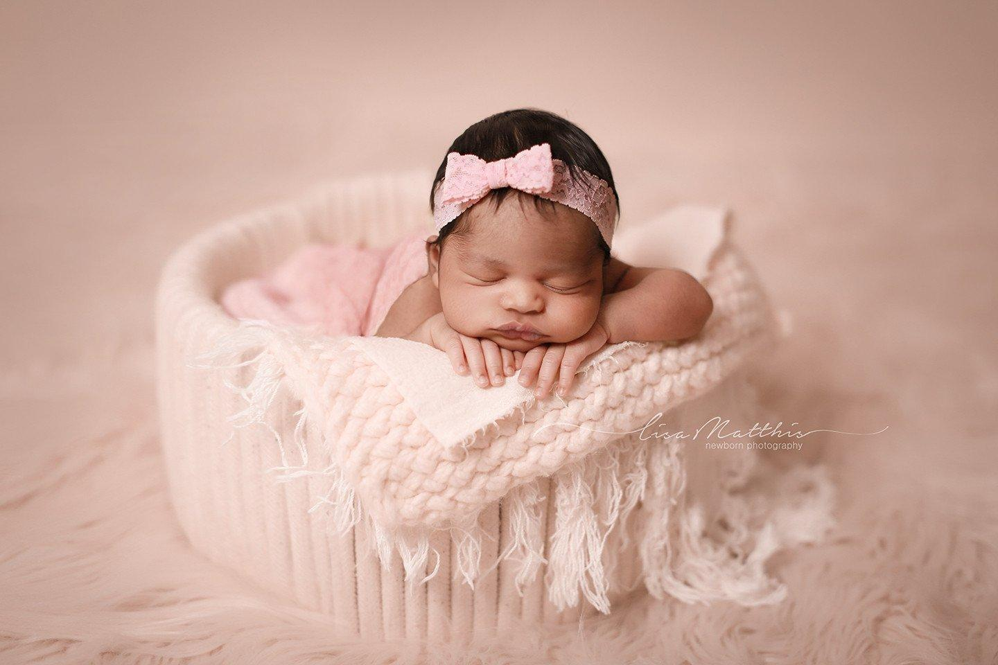 'Tessa' Lace Bow Headband // Light Pink-Tessa Lace bow headband-UniqueKidz