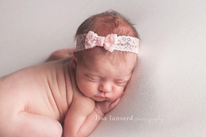 'Tessa' Lace Bow Headband // Peach-Tessa Lace bow headband-UniqueKidz