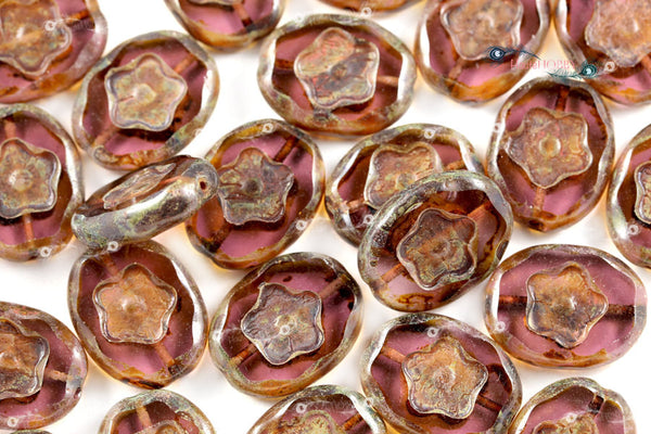 Czech Glass Oval Flower Beads