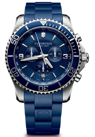 Victorinox Swiss Army Maverick Chronograph Blue Rubber 43mm 241690 Watch