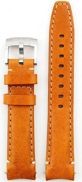 Everest Curved Tan End Leather Strap With Tang Buckle For Rolex 40mm Model