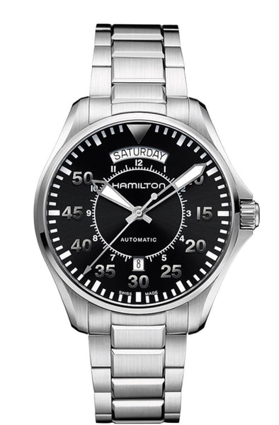 Hamilton Khaki Pilot Automatic Day Date Stainless Steel Black Dial 42mm H64615135 Watch