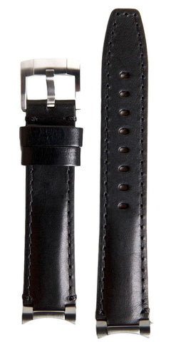 Everest Curved Black End Link Leather Strap For Rolex 40mm Model