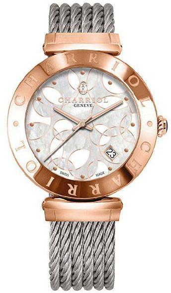 Charriol Alexandre C 34mm Rose PVD MOP Dial Quartz Watch