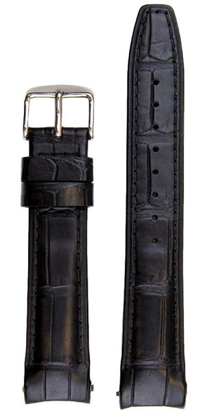 Everest Curved Black End Leather Strap With Tang Buckle For Rolex Datejust 36mm Model