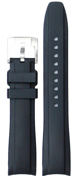 Everest Curved Black End Rubber With Tang Buckle For Rolex 40mm Model