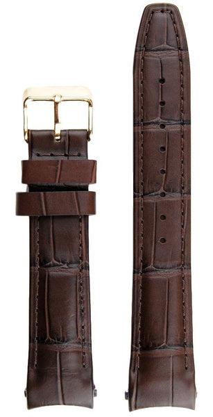 Everest Curved Brown End Leather Strap With Tang Buckle For Rolex Datejust 36mm Model