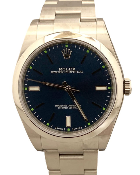 New 2020 Rolex Oyster Perpetual 39mm Blue Steel 114300 B&P Watch
