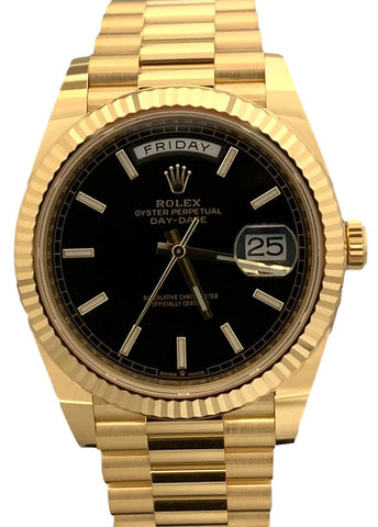 Rolex President 40mm 18K Gold Motif Dial 218238 B&P 2020 Watch