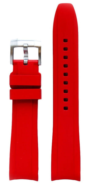 Everest Curved Red End Rubber With Tang Buckle For Rolex 40mm Model