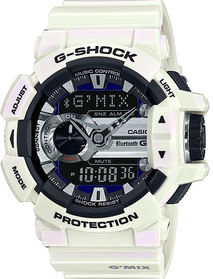 G-Shock Analog-Digital Bluetooth White Resin Strap GBA400-7C Watch