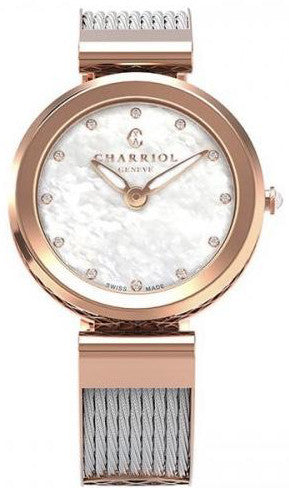 Charriol Forever Rose Gold PVD Stainless Steel MOP 32mm Zirconia Watch