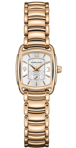 Hamilton Bagley Gold Rose Tone Quartz Silver Dial H12341155 Watch