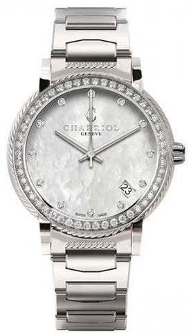 Charriol Parisii 33mm MOP Diamond Dial & Bezel Stainless Steel Quartz Watch