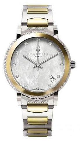 Charriol Parisii Stainless Steel & Yellow PVD MOP Diamond 33mm Watch