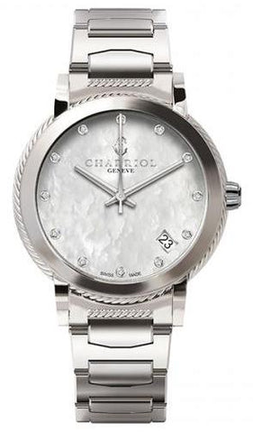 Charriol Parisii 33mm MOP Diamond Stainless Steel Quartz Watch