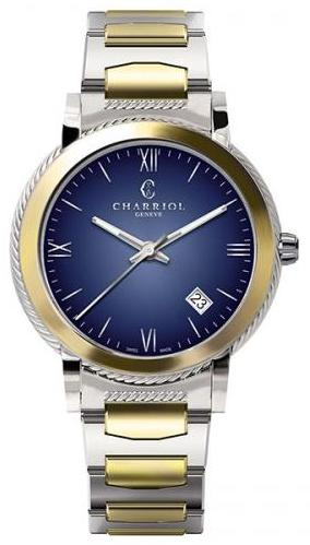 Charriol Parisii Stainless Steel Blue Dial 40mm Quartz Watch
