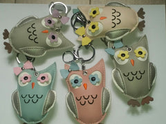 Handmade Mini Owls PU Leather Keychain/Ring, Purse Charm, Snap Tab