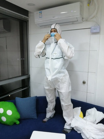 Disposable Hazmat Isolation Suit with Elastic Wrist, Ankles and Hood Full-Body Coverall - Personal Protective PPE