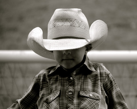 """Little Boy, Big Hat"" Matted 8x10"