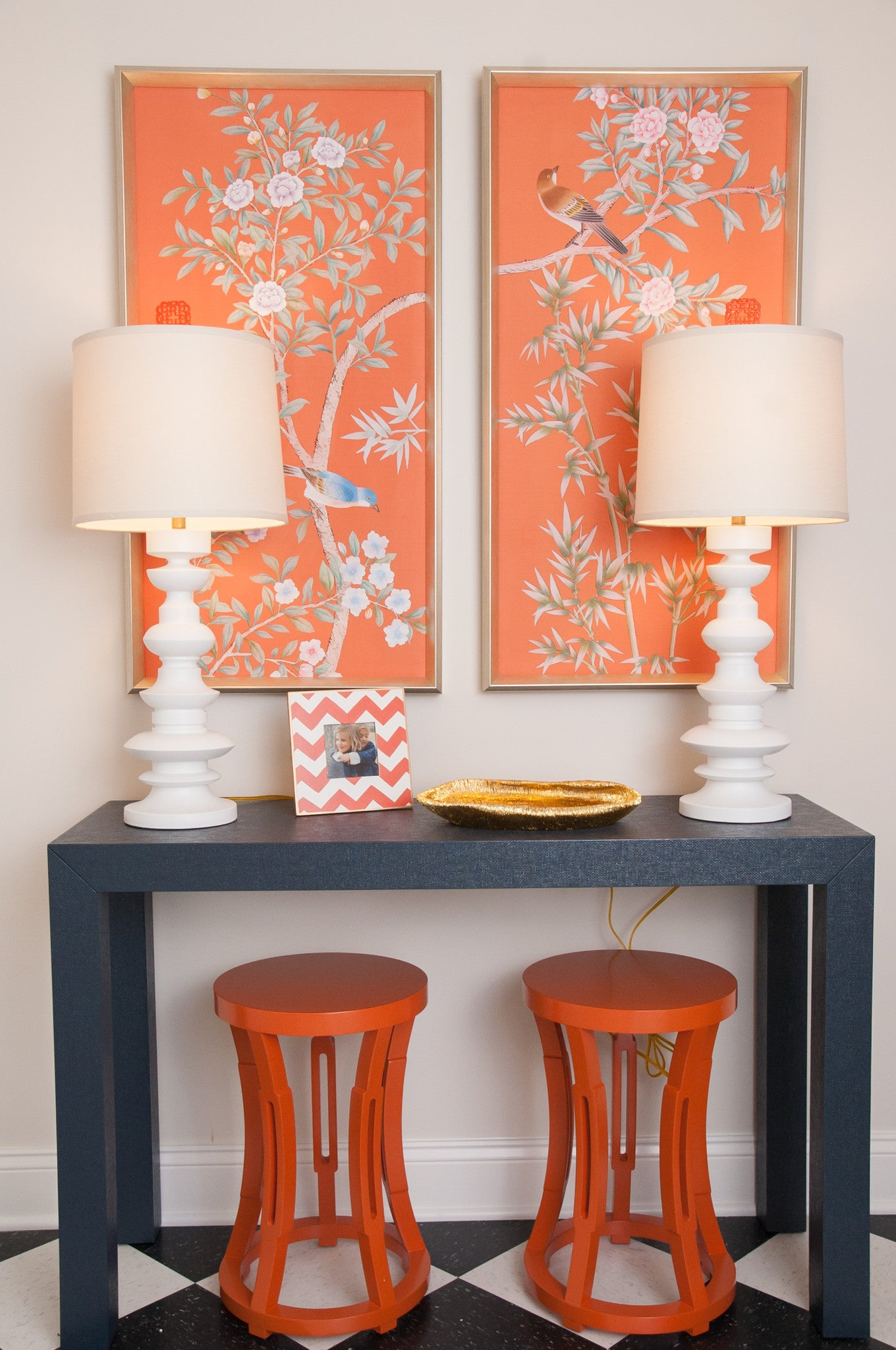 Genial Bungalow 5 Parsons Console Table, Lacquered Grasscloth (multiple Colors)