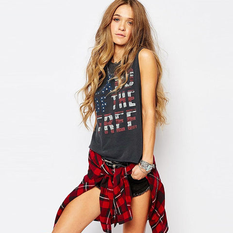 American Fashion Letters Printed Tops