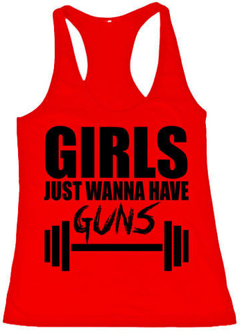Girls Just Wanna Have Guns Printed Girls Tank Tops
