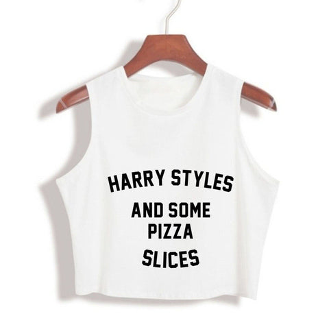 HARRY STYLES AND SOME PIZZA SLICE Crop Tops