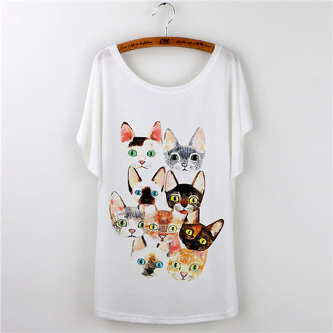 Animal Cartoon Printed Short Sleeve Loose Tees