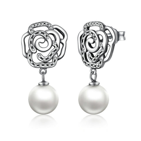 Silver Rose and Pearl Female Earrings