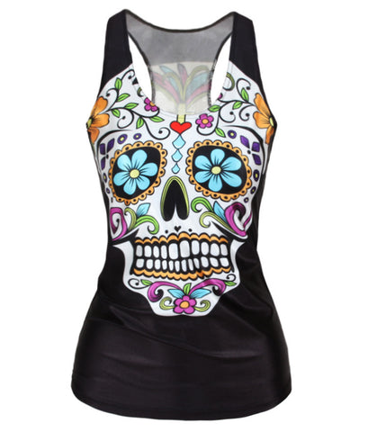 3D Horror Graphics Printed Tank Tops