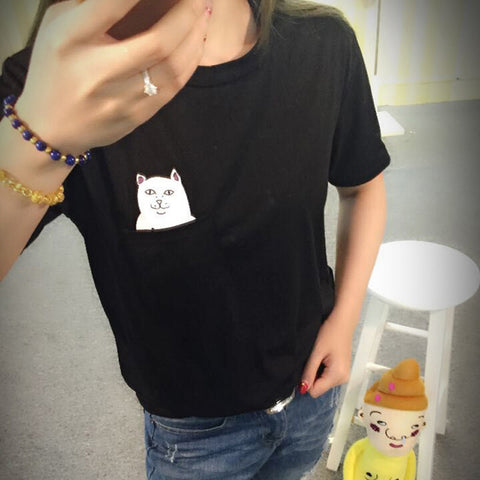 Cat Print Pocket Short Sleeve Cotton Tops