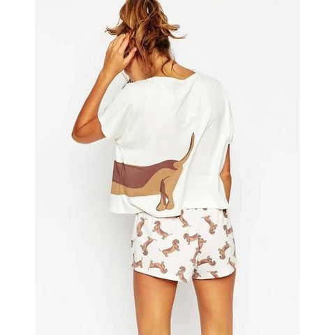 Cute Dog Printed Crop Top + Shorts 2 Pieces Set