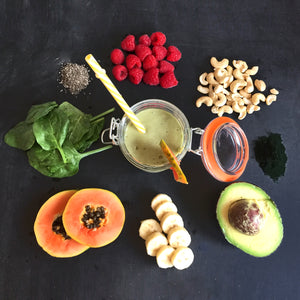 Brain bleed coconut kefir smoothie with ingredients