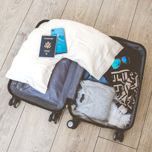 The Right Pillow Small is perfect for travel and fits in a carry on suitcase.