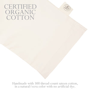 Certified organic sateen cotton pillowcase.